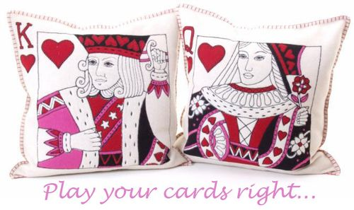 Jan Constantine playing card cushions